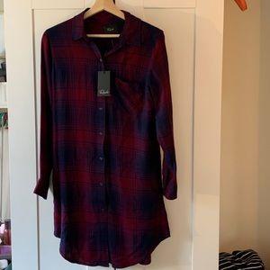 Rails Bianca Red Plaid Flannel Shirtdress NWT XS